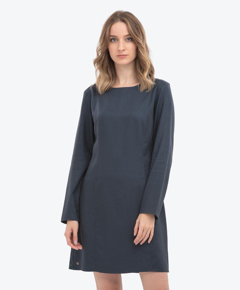 Kleid aus Tencel™ mit U-Boot-Ausschnitt Navy