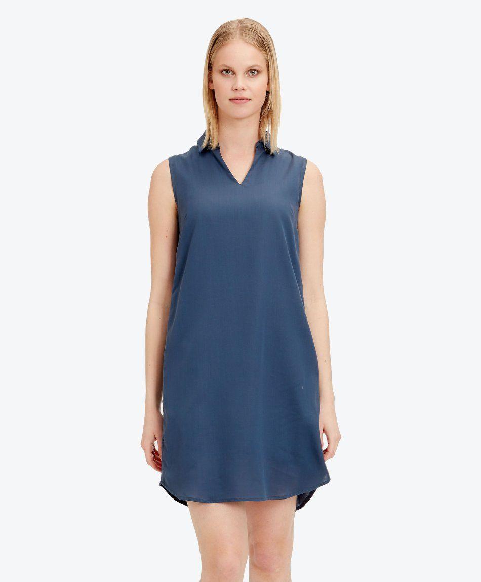 Kleid aus Tencel™ mit Hemdkragen