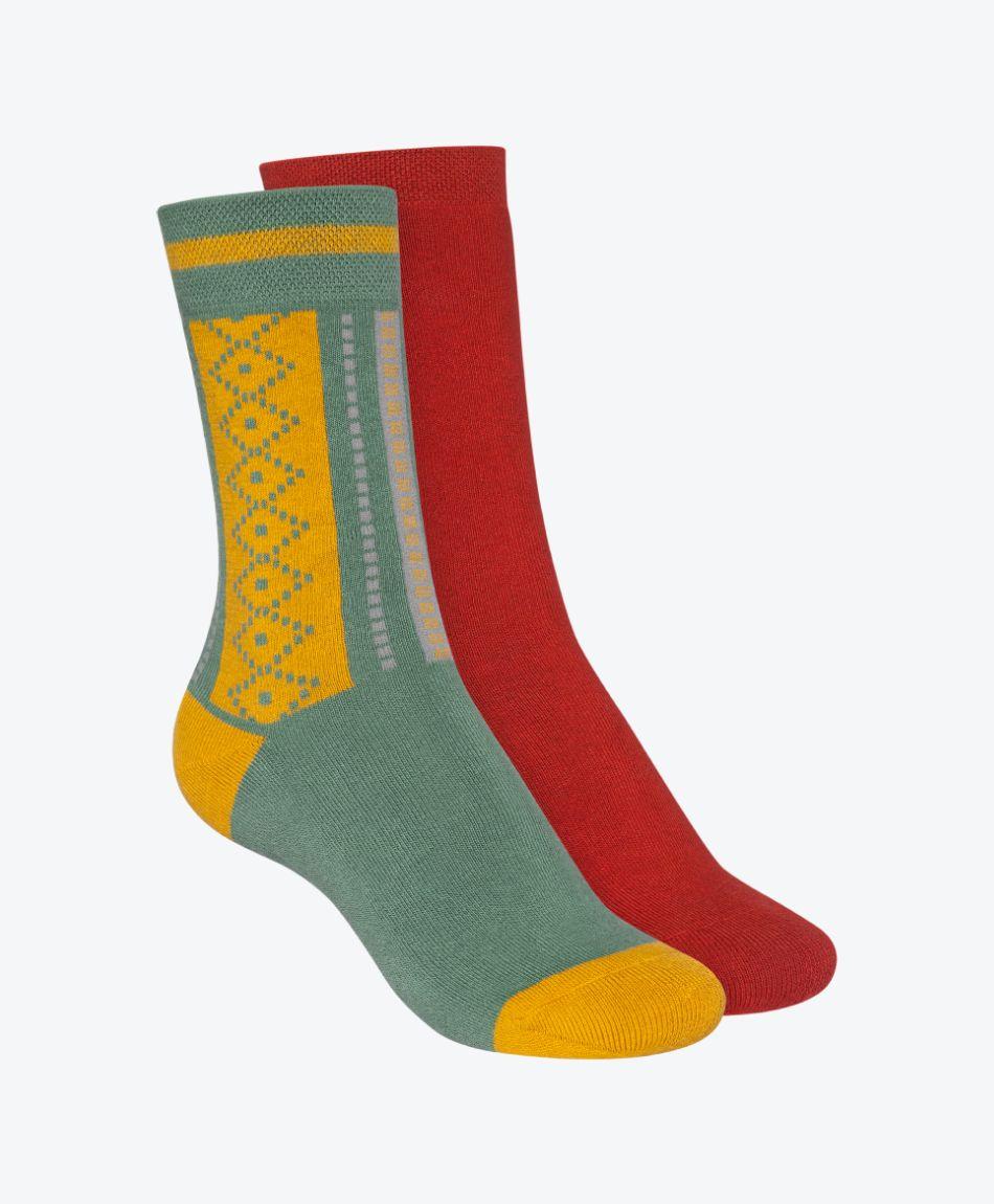 2 Pack Terry High Socks Brick Red/Jacquard Jade