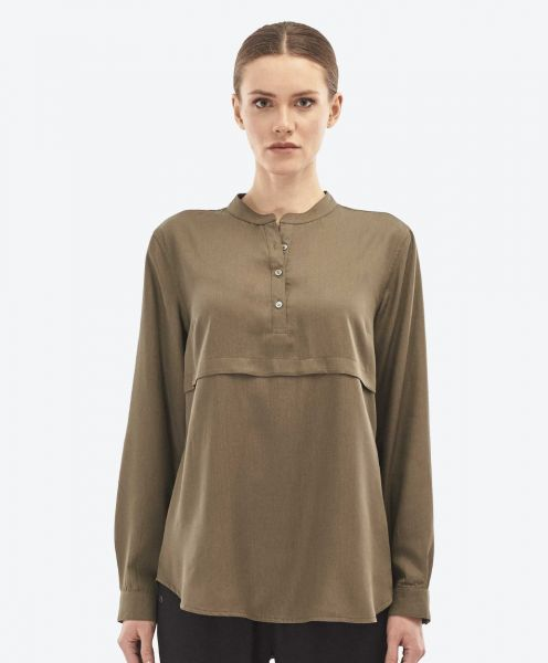 Langarm Bluse aus Tencel™ mit Knopfleiste green