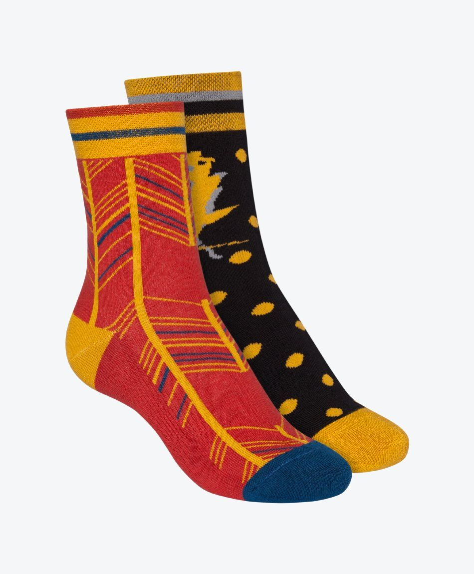 2 Pack Terry Mid Socks Indian Summer Black/Fancy Herringbone Brick Red