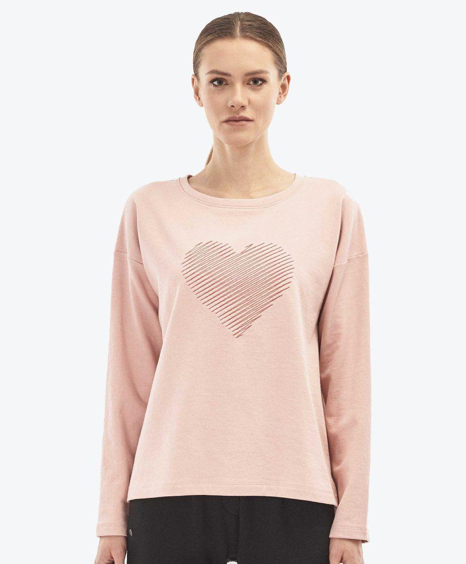 Damen Sweatshirt mit Herz Stickerei