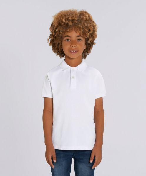Unisex Kinder Poloshirt Max Weiß