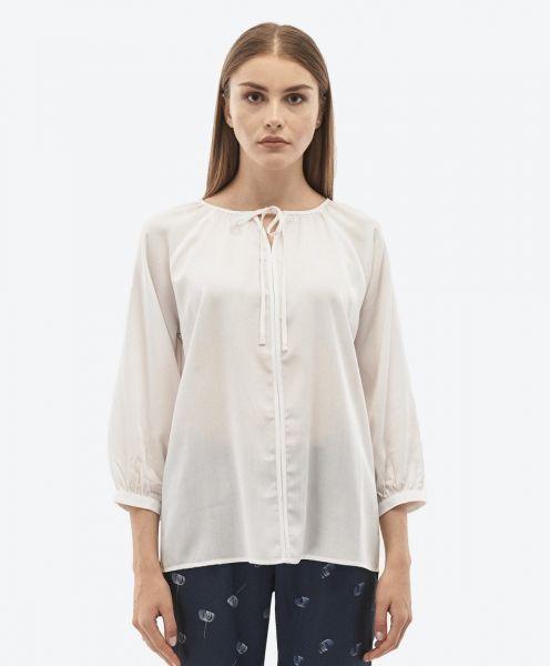 Weiße Bluse aus Tencel™ mit 3/4 Ärmeln