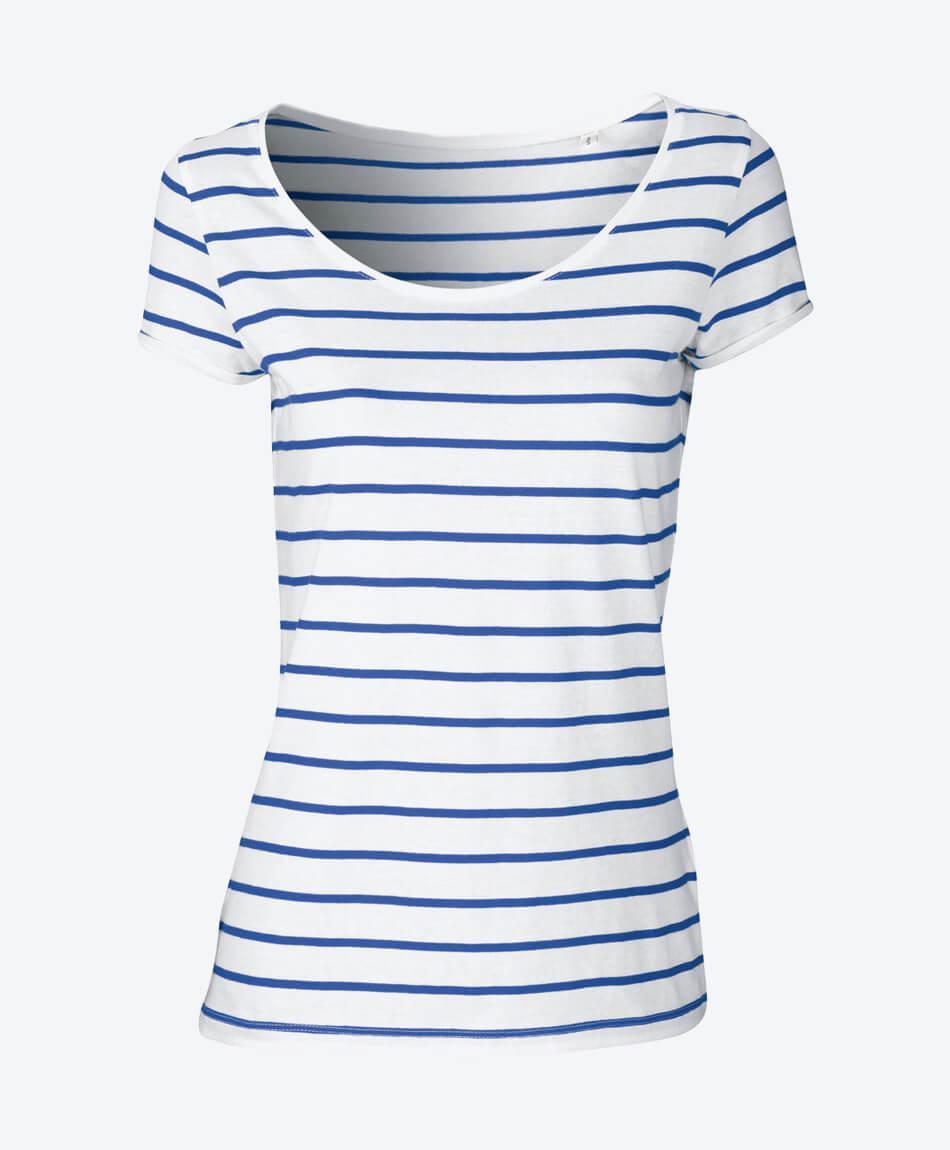 Bio Streifen Damen T-Shirt in blau