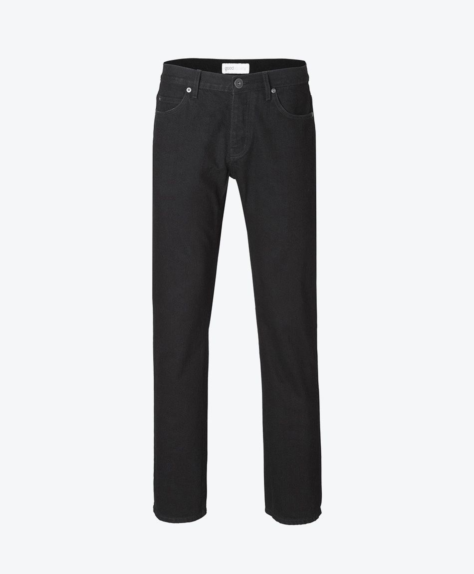 Mens Straight Jeans Black One Wash