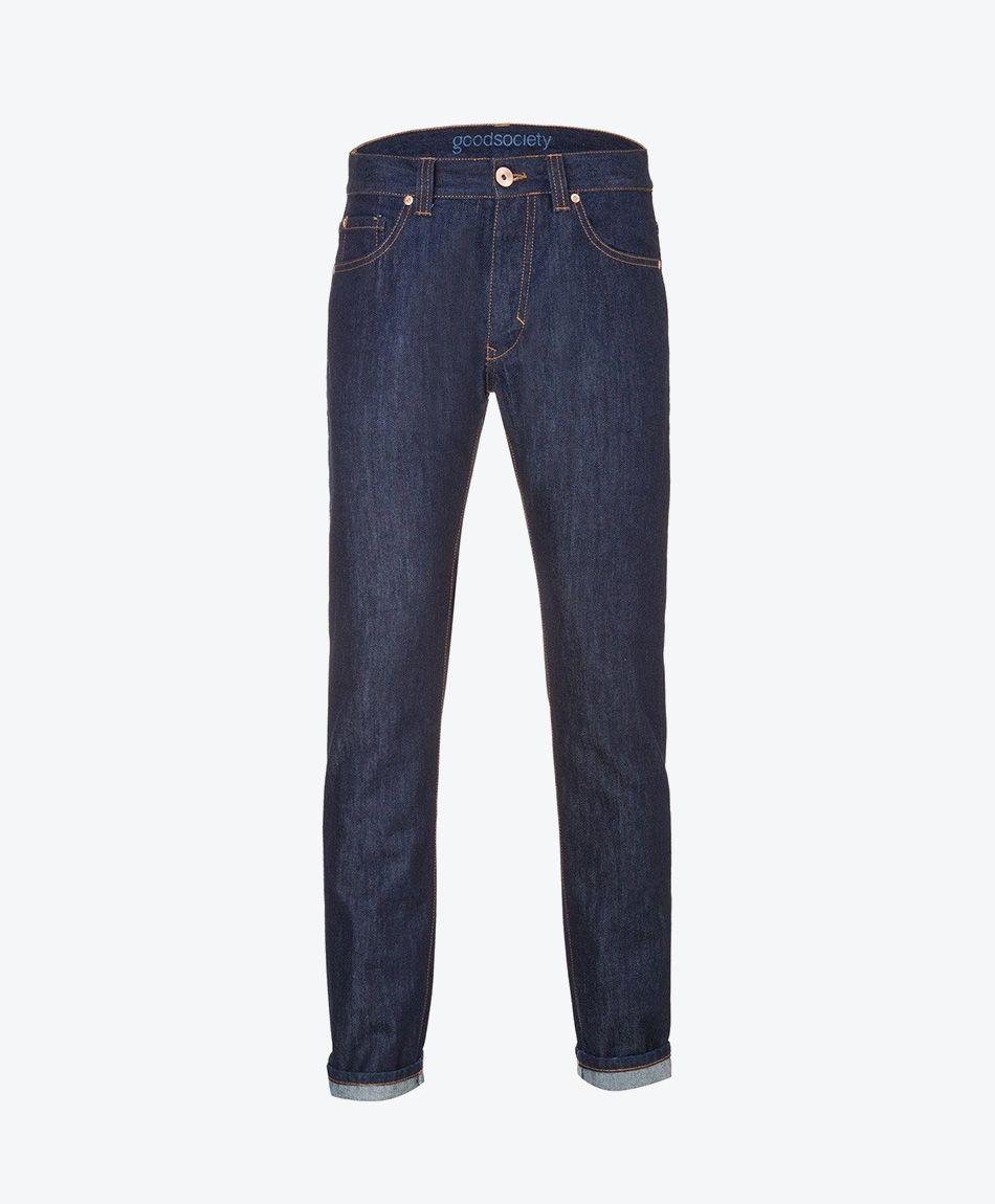 Mens Slim Straight Jeans - Raw One Wash
