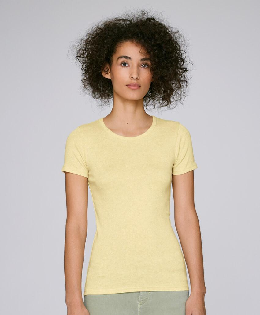 Bio Baumwolle Rippstrick-T-Shirt mit Rundhalsausschnitt light heather yellow Frau