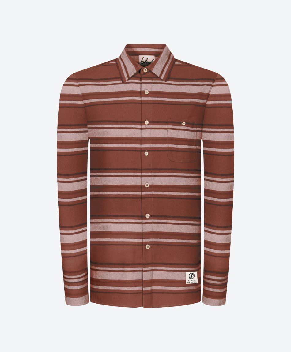 Striped Flannel Shirt Red