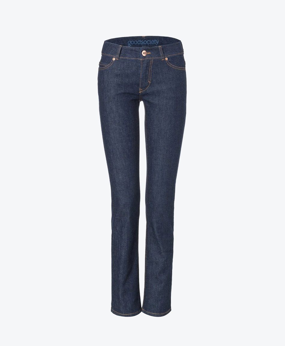 Womens Straight Jeans - Raw One Wash