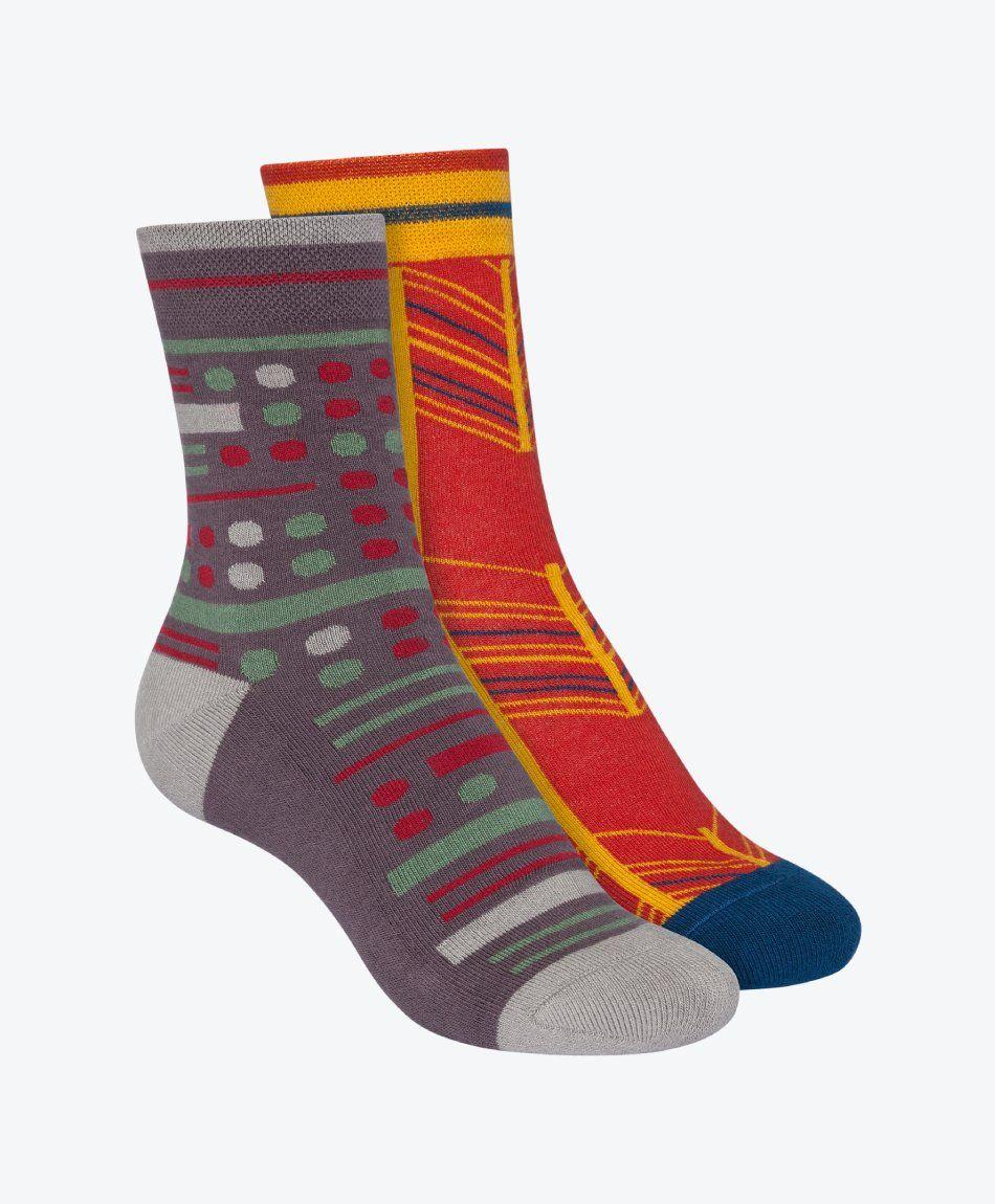 2 Pack Terry Mid Socks Fancy Herringbone Brick Red/Geometric Mix Dark Grey