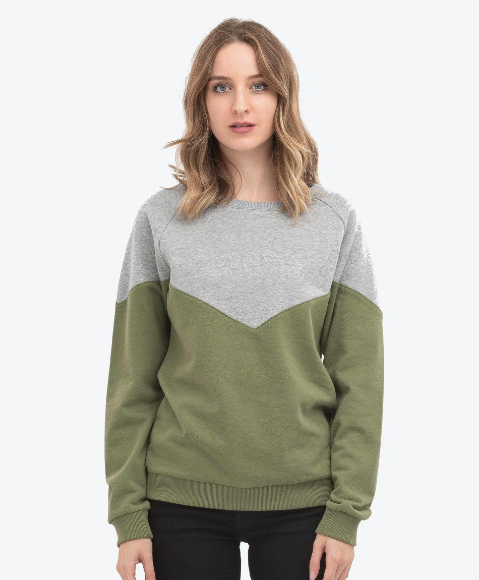 Damen Sweatshirt Green-Grey Melange