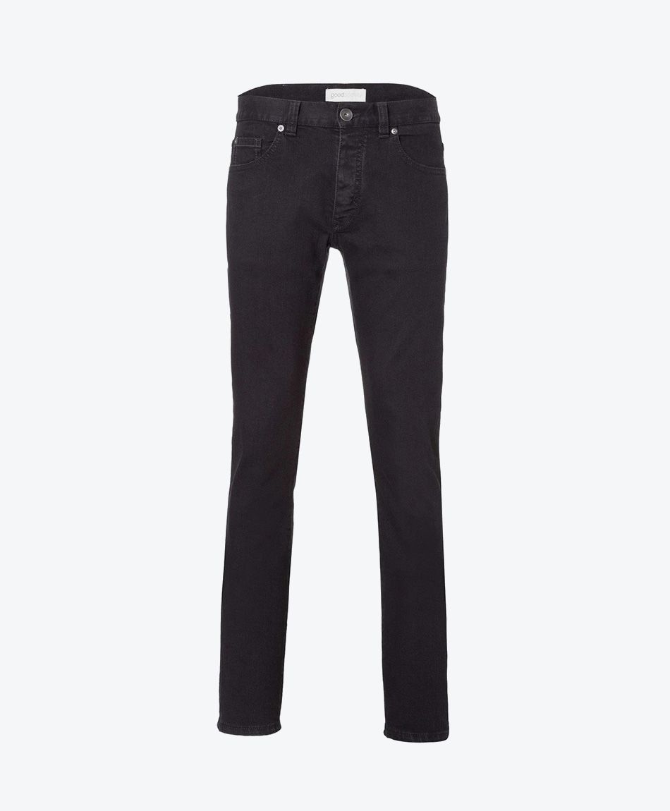 Mens Slim Straight Jeans Black One Wash