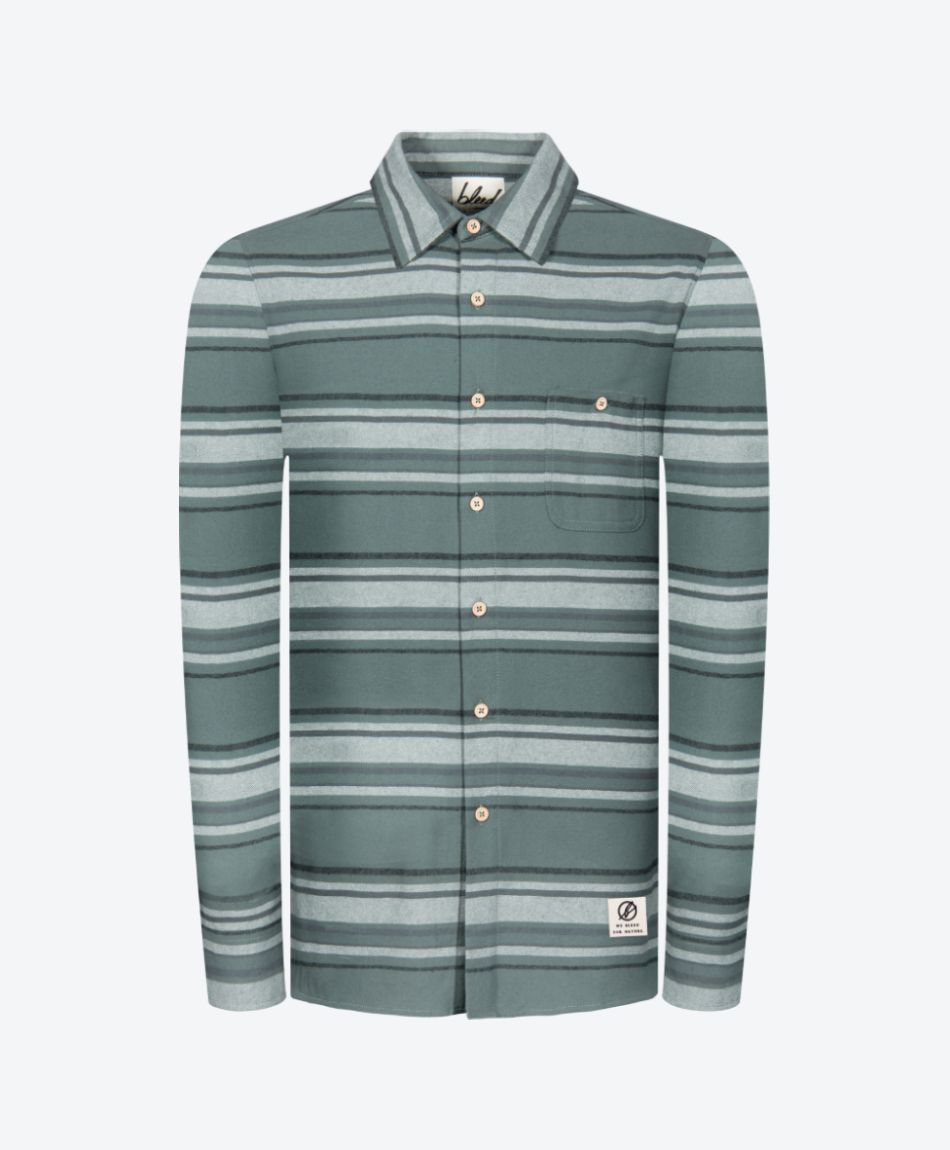 Striped Flannel Shirt Green